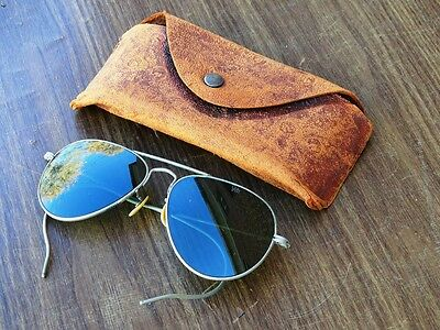Vintage Willson Aviator Style Sunglasses WWII with Case USN