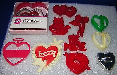 14 Valentines Day Cookie Cutters Hearts Cupid Amscan Red Plastic Wilton Hutzler
