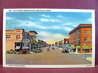 Postcard ID Twin Falls Main Street Looking West Old Cars Store Signs