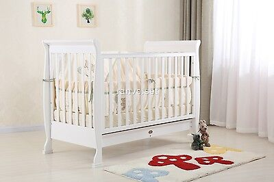 3In1 Baby/infant Sleigh Cot/crib With Drawers &toddler Bed+ Mattress.white/brown