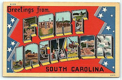Postcard SC Large Letter Greetings from Fort Jackson South Carolina #2
