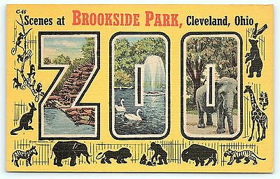 Postcard OH Cleveland Large Letter Greetings from Brookside Park Zoo Ohio