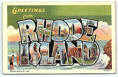Postcard RI Large Letter Greetings from  Rhode Island