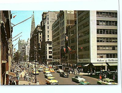 Postcard NY New York City 1950's View Fifth Avenue  Old Cars & Stores