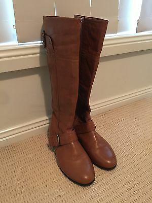 Corelli Tan Leather Knee High Boots Size 7.5
