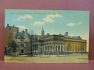 Old Postcard WI Milwaukee Layton Art Library and Elk's Club