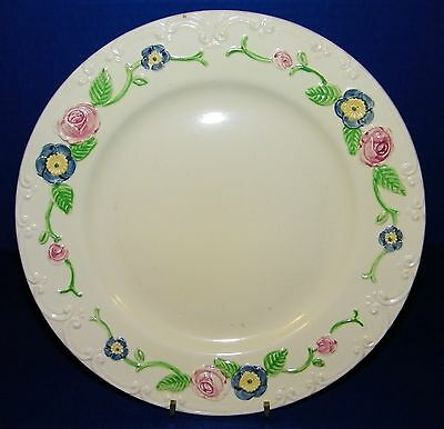"""Homer Laughlin Company Oven Serve 9"""" Painted Floral Dinner Plate Pink Blue Multi"""