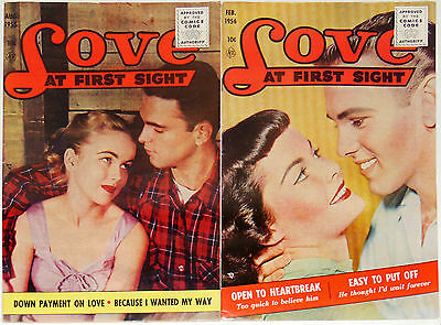 Love At First Sight #36 & #39~1955~Silver Age~Romance Comics~Photo Covers
