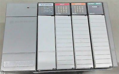 Allen Bradley PLC+CABLE - SLC500 1746-A4 Rack+Analogue & Digital IN/OUT Modules