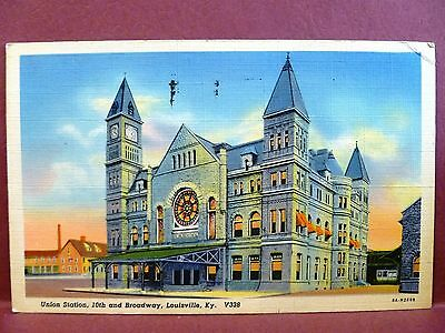 Postcard KY Louisville Union Station 10th and Broadway