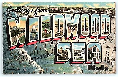 Postcard NJ Wildwood Large Letter Greetings Wildwood By The Sea New Jersey #5