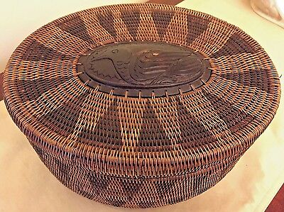Handcrafted Indonesian rattan and wood basket