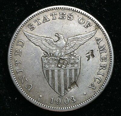 1903s Peso US-Philippines  Silver Coin w/ Chinese Chopmarks - lot#7