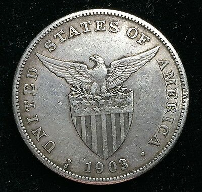 1903s Peso US-Philippines  Silver Coin w/ Chinese Chopmarks - lot#10