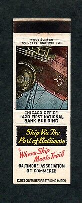 Baltimore MD Association of Commerce Port of Baltimore Front Strike Matchcover