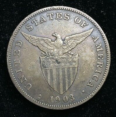 1903s Peso US-Philippines  Silver Coin w/ Chinese Chopmarks - lot#12