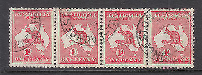 KANGAROO: 1d RED STRIP OF 4 WITH A COUPLE OF MINOR BENDS, NOT EASY TO FIND!!!