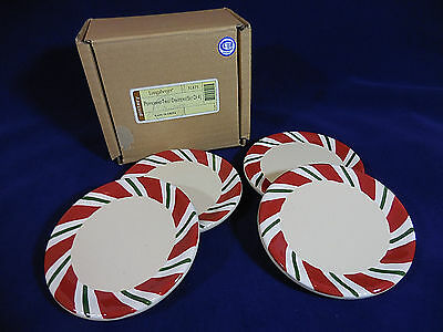 """Longaberger Peppermint Twist Coasters Set of 4 Pottery 4"""" With Box"""