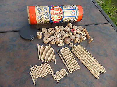 Vintage Senior Tinker Toy Windlass Drive Canister Tube W/ 90 Pieces TinkerToy