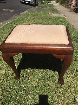 ANTIQUE WOODEN PIANO STOOL Cream Seat - Manly Pick Up