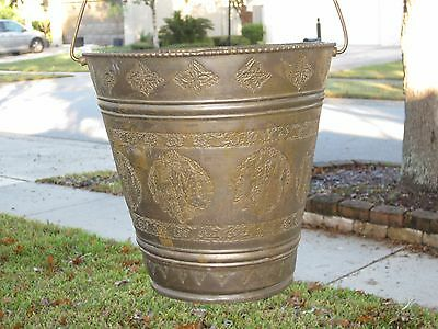 "10"" Antique Persian Islamic embossed Copper Brass Bucket Pail Cauldron w/Handle"