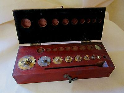 Antique Set of Brass Weights in Walnut Box with Hinged Lid PALO COMPANY NEW YORK