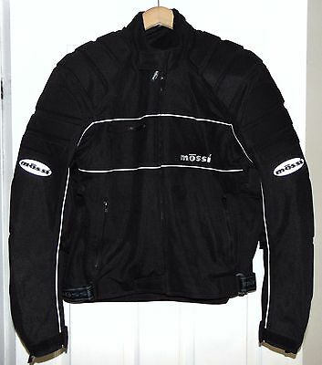 MOSSI Black Motorcycle Jacket with Pads Large