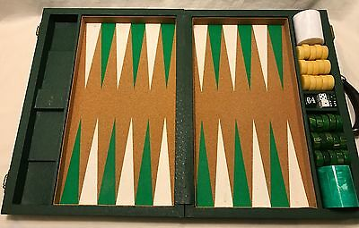 Crisloid Backgammon Green/Gold Catalin Stones Faux Ostrich Covered Cork Board