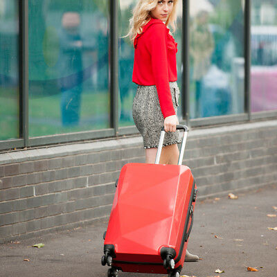Hardshell Suitcase Trolley Diamond Luggage Cabin Spinner PC And ABS Red 20''