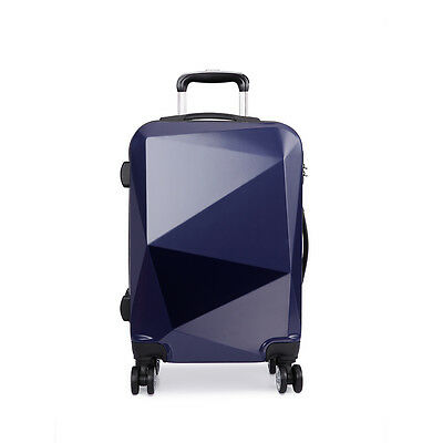 KONO Hardshell Suitcase Trolley Diamond Luggage Cabin Spinner PC /ABS Navy 20''