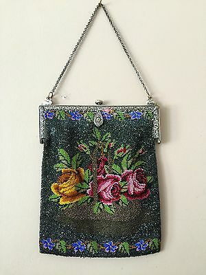 Vintage Micro Glass BEADED PURSE~European hand made~sterling silver frame