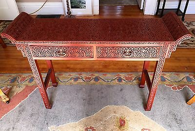 ANTIQUE RARE CHINESE CARVED TIXI LACQUER ALTAR TABLE~Ming