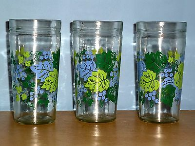 """3 Vtg Grape Grapevine Collectible Jelly Glasses Lime Green Periwinkle 6"""" Tall"""