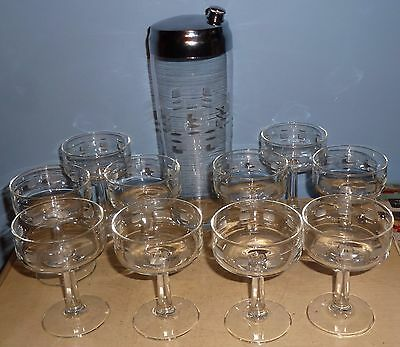 Vintage Barware 12 Piece Martini Set Shaker Chrome Lid Glasses Clear Etched Exc.