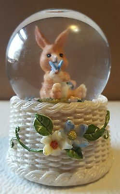 Easter Bunny brown with basket Flowers Butterfly  water globe