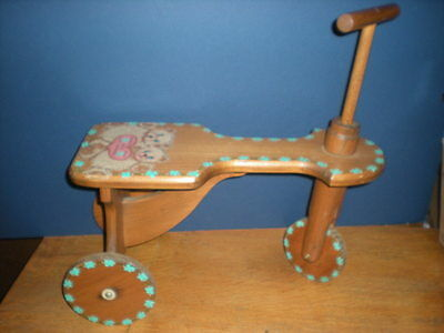 Wood Scooter OOAK Child Toddler Hand Painted Teddy Bears Flowers Vtg Riding Toy