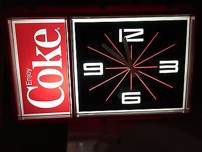 NEW / NEVER USED Vintage 1984 Coca-Cola Coke Lighted Clock by Ridan Displays Inc