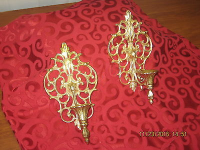 Pair of Gold Metal Ornate Wall Sconces