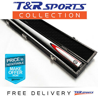 White Full Length 2-Piece Pool Snooker Billiard Graphite Cue With Black Case AU