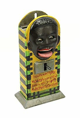 Antique Repro Black Face Mechanical Bank Press Lever Lightly Watch My Tongue