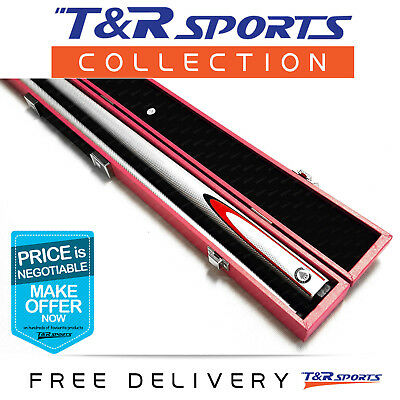 White Full Length 2-Piece Pool Snooker Billiard Graphite Cue With Pink Case AU