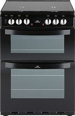 New World 601DFDOL 60cm Free Standing Double Dual Fuel Cooker - Black