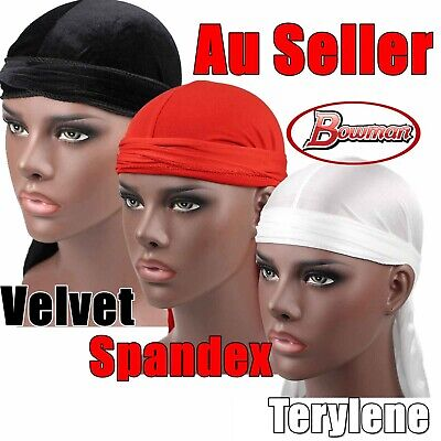 Silky Velvet Spandex Black Durags Du Rag Cap Doo Rag Skully Chef Pirate Sports