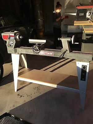 "36"" Craftsman Wood Lathe On Stand With Tools"