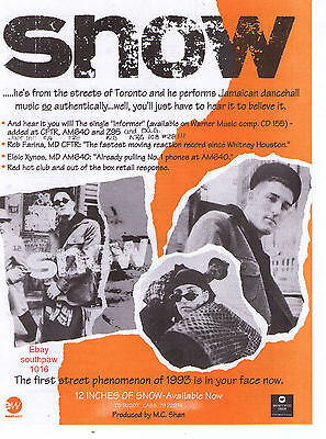 """1993 Snow """"12 Inches Of Snow"""" Canadian Album Trade Print Advertisement"""
