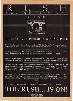 """1981 Rush """"Moving Pictures"""" Record Album Candian Trade Print Advertisement"""