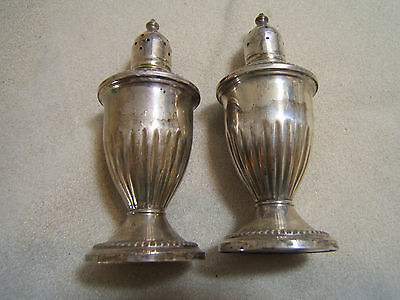 Vintage Sterling Silver Salt and Pepper Shakers Weighted Not Signed Glass Liner