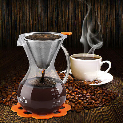 Easehold Glass Pour Over Coffee Maker Drip Pot with Permanent Filter 800ml/5 Cup