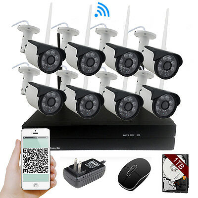 AU 8CH Wireless NVR Kit WD 1TB HDD WiFi IR 960P 1.3MP IP Camera Security System