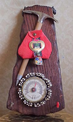 """Vintage Thermometer Bavarian Swiss? Wood Mounted With Ice Pick & Cow Bell 9"""" H"""